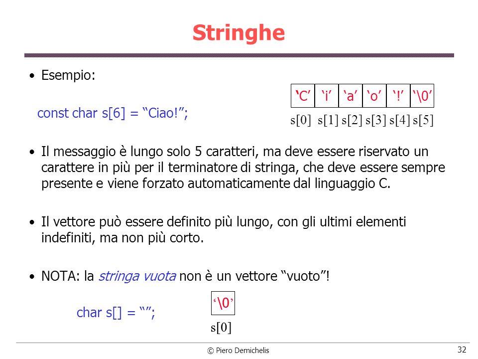 Stringhe Esempio: const char s[6] = Ciao! ;